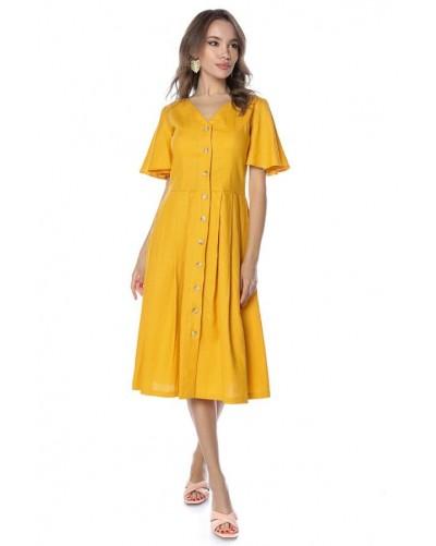 Rochie midi cu maneci evazate galben auriu Marigold